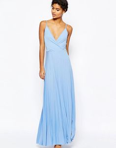 Image 1 of ASOS Wrap Front Strap Back Pleated Maxi Dress
