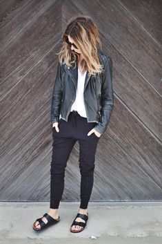 Black jacket, black pants