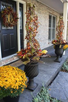 Fall topiaries for the front porch.