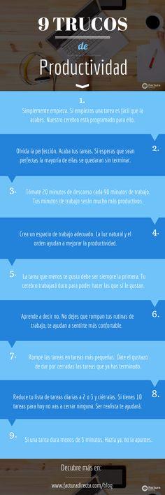 9 trucazos para mejorar tu productividad. Cuestiones básicas para aprovechar nuestro tiempo