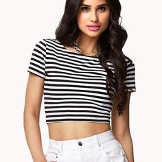 Striped Short Sleeve Daisy Crop Top Has been worn a couple of times but is in great condition! Brandy for views. Very comfortable and cute! First picture is of a similar top but the one IM selling has Flowers on it. Brandy Melville Tops Crop Tops