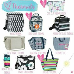 To the pool, to the beach, to the tournament, to the family reunion . ...these thermals keep their contents cold or hot! !!  Www.mythirtyone.com/TatumCameron