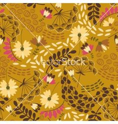 Decorative floral background with retro flowers on dark vector  by kari-njakaBU on VectorStock®