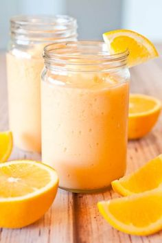 Orange Creamsicle Smoothie, and more. The Orange Creamsicle Smoothie is a staple in my house. Smoothie Drinks, Healthy Smoothies, Healthy Drinks, Healthy Snacks, Orange Smoothie, Detox Drinks, Strawberry Smoothie, Breakfast Smoothies, Banana Smoothies