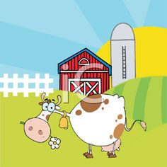 Royalty Free Clipart Image of a Cow Eating Daisies