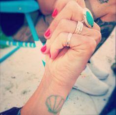 Turquoise/Mint Sea Shell Wrist Tattoo
