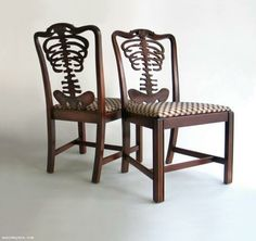 Skeleton chairs~ reupholster the seats and paint the wood white or a bold color