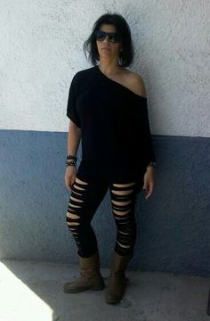 reciclar viejas mallas...el look rockero