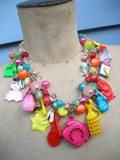 Gotta love the 1980's! I made this statement necklace using vintage toy key rings from the 70's - 80's.
