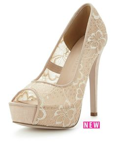 Lace cream peep toe heels
