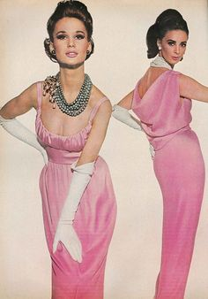 Brigitte Bauer with Wilhelmina (R), March Vogue 1964 | Rosalie Macrini dress, right. Mollie Parnis dress, left