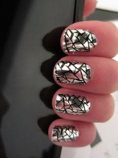 Broken Glass Inspired Nails! Black & metallic nails. #nails. -  DIY NAIL ART DESIGNS