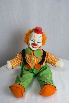 Vintage Gund Clown Doll Rubber Face Hat Scary Plush by madvintage