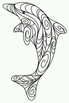 Doodle Dolphin design could be used for quilling Arte Quilling, Paper Quilling Designs, Quilling Ideas, Free Quilling Patterns, Quilling Comb, Stylo 3d, Quilled Creations, 3d Drawings, Drawing Faces