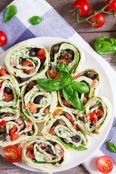 Vegan Basil Ricotta Pinwheels  Use a GF wrap or tortilla yumm