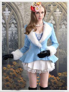 Morpheus Boutique  - Blue White Hair Hem Pleated Wool Holiday Jacket