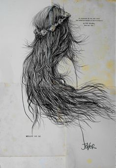 """Artist: Loui Jover; Conte 2013 Drawing """"flying"""""""
