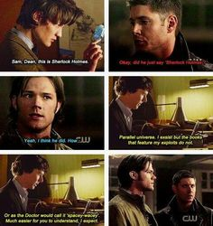 Superwholock, This is just awesome! I love the idea that Sherlock would try to get spoilers on his life from the doctor and the winchesters.