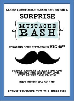 Surprise Mustache Bash Invitation template 5x7. Handmade by www.luckybean33.etsy.com