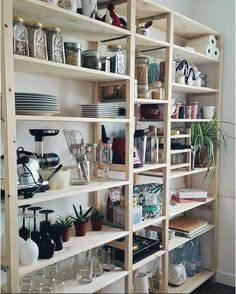 Ikea & # Ivar & # shelf @ a través de IKEA France (Diy Organization Kitchen) Ikea Ivar Shelves, Diy Storage Shelves, Diy Kitchen Storage, Storage Ideas, Storage Solutions, Ikea Kitchen Shelves, Paper Storage, Wooden Shelves, Kitchen Shelf Unit