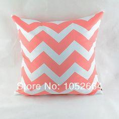 "18*18 "" Decorative Chevron Zig Zag Printed  Throw Pillow Cover for Sofa Bedding, Light Pink"