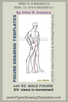 this male figure drawing template designed for drawing male body in 3/4 ( three quarters) view with mild movement.