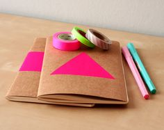 Neon Pink Triangle Notebook - Handpainted Geometric Moleskine - Journal Neon pink - Neon diary or sketchbook Notebook Cover Design, Diy Notebook, Handmade Notebook, Moleskine, Triangle Rose, Craft Packaging, Tape Crafts, Stationery Design, Bookbinding