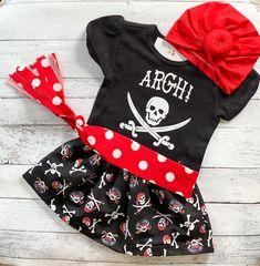 Baby Girl Pirate Costume -  Halloween Outfit - Skirt, Sash, Shirt and Turban Headband