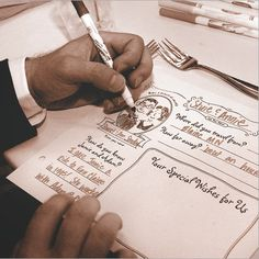 Place mats guests turn into guest books. Love!