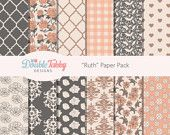 Scrapbook Digital paper pack pink floral cream grey instant download printable commercial use - Ruth