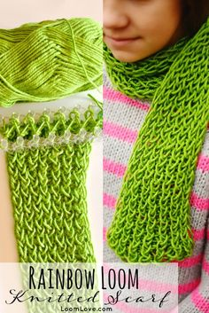 Did you know that you can knit a scarf (with yarn!) on your Rainbow Loom?
