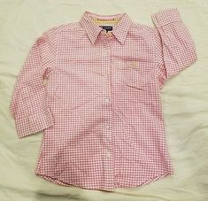Duck Head Jeans Women M blouse Button Shirt pink white check casual 3/4 sleeve