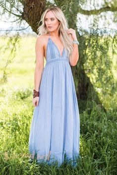 Soft powder denim blue color maxi dress with embroidered neckline, tied top with backless style. Boho style for a beautiful wedding, party or graduation ceremony.
