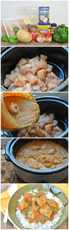 Slow Cooker Coconut Chicken Curry: 2lbs Chicken, 1 Onion, 2 cloves Garlic, 1 Green Pepper, 1 (156ml Can) Tomato Paste, 1 (400ml Can) Coconut Milk, 1-½ teaspoon Salt, 1 Tablespoon Curry Powder, 1 Tablespoon Garam Masala, 2 whole Dry Red Chili Peppers, 2 Tablespoons Water, 1-½ Tablespoon Cornstarch