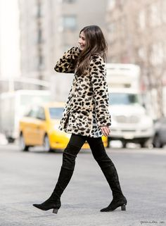 Felicity Sargent, street style, thigh high boots, suede, leopard coat, New York City / Garance Doré