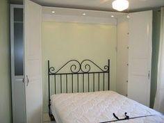 DIY murphy bed using Ikea Pax Wardrobe and built in lighting