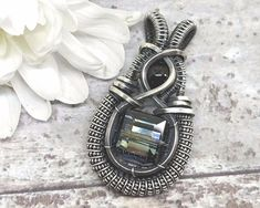 Heady Crystal Pendant Wire Wrapped Jewelry Sterling and Fine