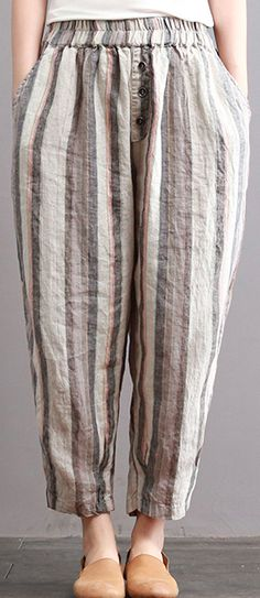new vintage cotton linen women pants plus size elastic waist crop harem pants1