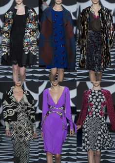 Diane Von Furstenberg A/W 2014/15-Stylised 70′s Psychedelia – Border Framed Prints – Love Not Patterns – Bold Mix and Match Combinations – Abstract Shapes – Repeated Moon and Stars – Swirls and Wave Pattern – Monochromatic Colour – Black and Gold