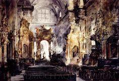 Paul Dmoch   L'église Sainte-Anne à Varsovie - aquarelle 80 x 117