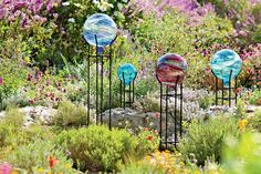 $40 Like phosphorescent foxfire glowing in the forest, these gazing globes add nighttime magic to the garden. The globe absorbs sunlight during the day, then begins glowing at dusk for 2 to 4 hours. Hand-painted, so no two are exactly alike!