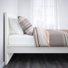 MALM Bed frame, high IKEA Adjustable bed sides allow you to use mattresses of different thicknesses. Cama Malm Ikea, Ikea Lit Malm, High Bed Frame, Malm Bed Frame, Bed Frames, Bed Storage, Storage Boxes, Storage Spaces, Extra Storage