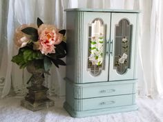 Shabby Chic Wooden Jewelry Box / Shabby Chic Jewelry Armoire With Glass Doors…
