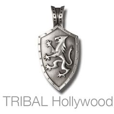 KNIGHTS SHIELD Lion Rampant Mens Necklace Pendant by BICO Australia