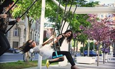 """Montreal Installing 21 Free """"Musical Swings"""" Downtown This Spring Installation Interactive, O Canada, Spectacle, Musicals, 21st, Community, Spring, Travel, Festivals"""