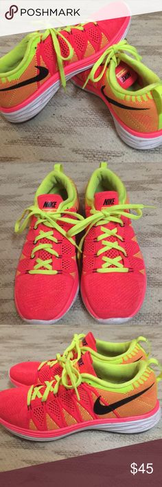Nike flyknit lunar 2 shoes Women's Nike flyknits in size 8. Hardly worn. Hot pink with neon yellow detail and speckled sole. Nike Shoes Athletic Shoes