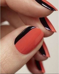 Orange & Black simple nail art.