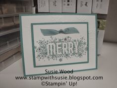 Stampin' Up!- A clean & simple card using 'Seasonally Scattered' with embossed snowflakes using the Northern Flurry embossing folder.