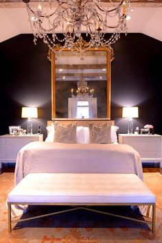 Gold Baroque Mirror Over Bed - French - Bedroom Black Rooms, Bedroom Black, Black Walls, Mirror Over Bed, Baroque Bedroom, Baroque Mirror, Tropical Bedrooms, How To Dress A Bed, Minimalist Room