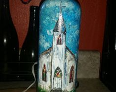 Hand-painted lighted wine bottle by CtryGirlCreations on Etsy